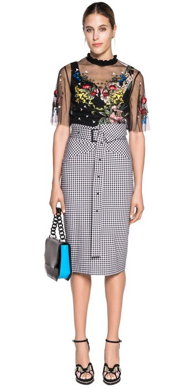 ec10ced2ec Skirts | Asymmetric High Waist Gingham Pencil Skirt | Yeliz' likes ...