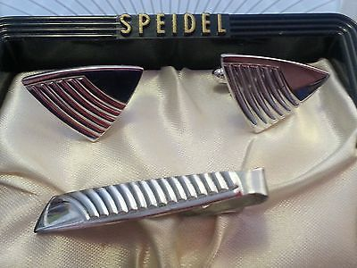 """Vintage """"Speidel"""" Silver-plated, Triangle Shape Tie Clip And Matching Cuff Links"""