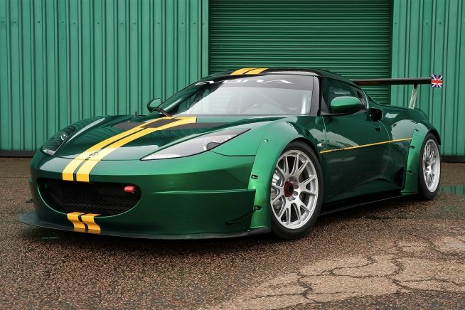 2012 Lotus Evora GTC in British racing green.