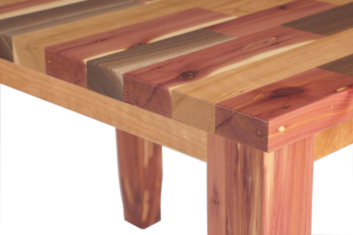 Awesome Mixed Wood Table In Walnut, Cedar And Cherry