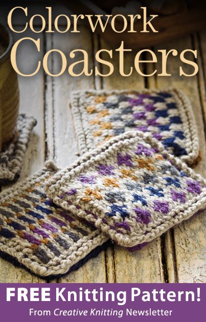 Colorwork Coasters Download From Creative Knitting Newsletter Click