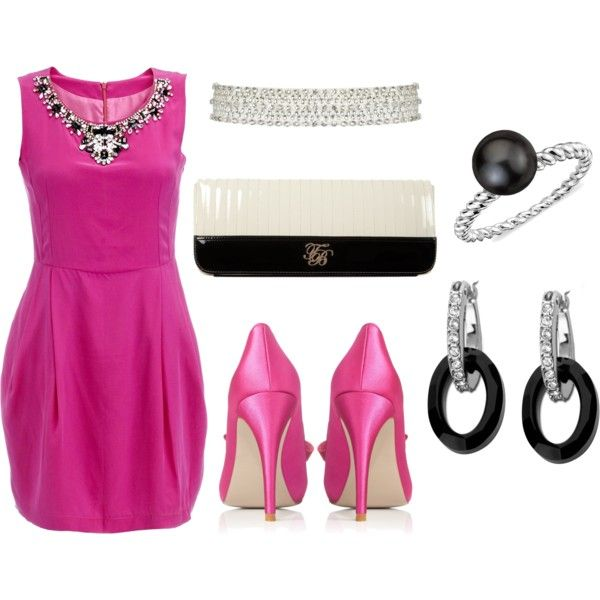 Absolutely gorgeous Fuschia dress & heels - with great accessories ...