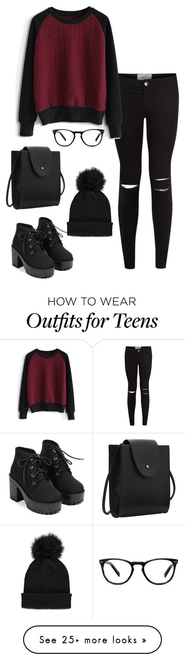 Winter Clothes Maroon And Black Super Cute