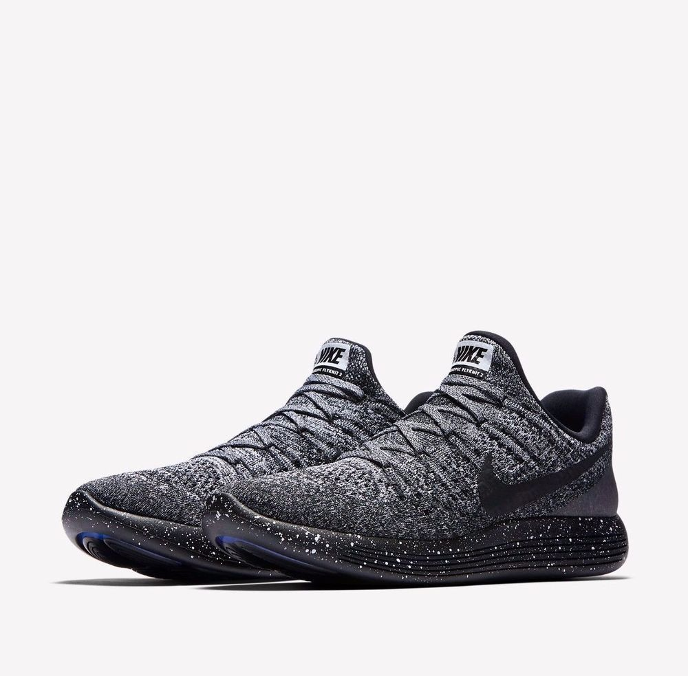Nike Lunarepic Low Flyknit 2 Mens Running Shoes 10 5 Black White Blue 863779 041 Nike R Running Shoes For Men Nike Shoes Flyknit All Black Sneakers