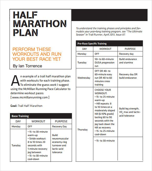 Sample Half Marathon Pace Chart   Documents In Pdf  Running