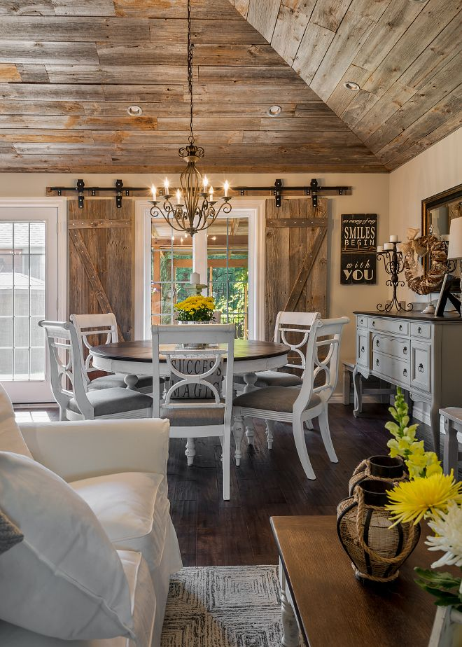 Rustic dining room with reclaimed wood ceiling. The barn ...