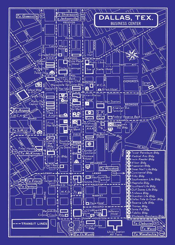 1949 Vintage Map of Downtown Dallas  11x17 by seashoreprints, $14.95