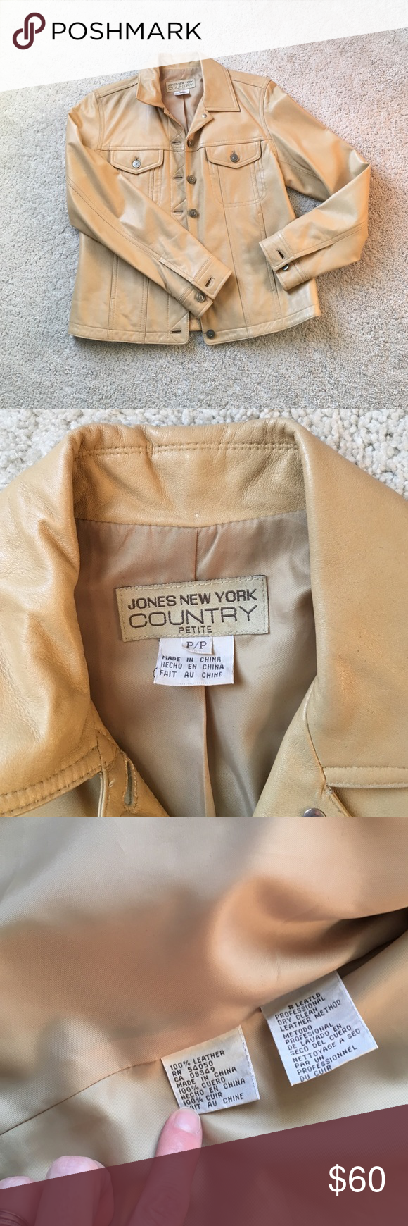 Camel Colored Leather Jacket- XS Jones New York Leather Jacket Jones New York Jackets & Coats Utility Jackets