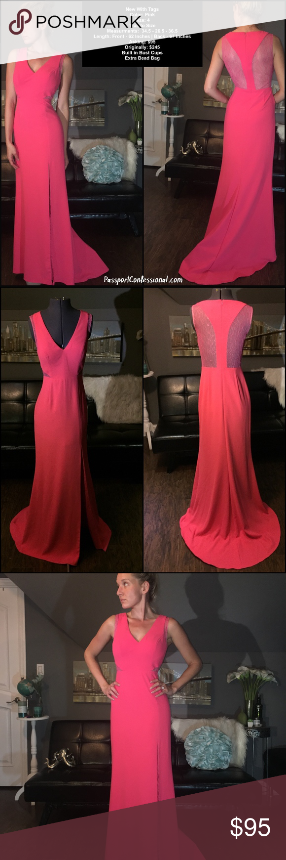 Pink coral sheer lace open razor back prom dress boutique side
