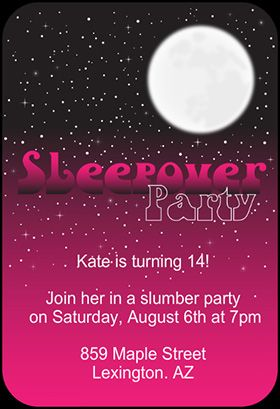 Pink Night Printable Invitation Customize Add Text And Photos - Invitations for sleepover party templates