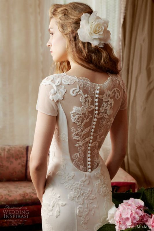 Weddbook Illusion Short Sleeved Wedding Dress With Back Button And Lace Appliques Up By MiaMia Bridal Alan Hannah