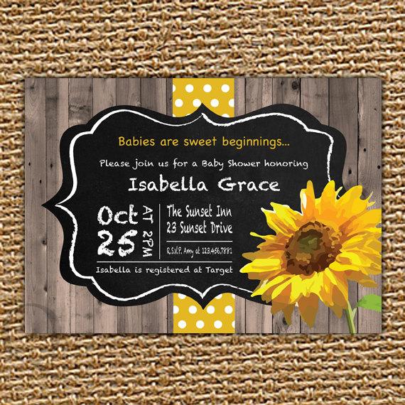 chalkboard sunflower baby invitation fall baby shower sunflower