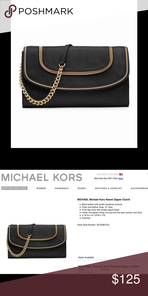 3e26f5cc3fc8 Michael Kors black clutch/handbag Michael Kors black leather clutch with removable  strap. Gold zipper detail on bag and chain. Used once and then stored ...