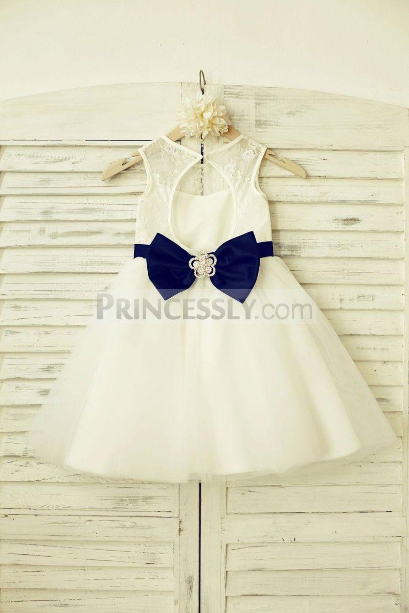 Ivory Lace Tulle Flower Girl Dress With Keyhole Backnavy Blue Belt