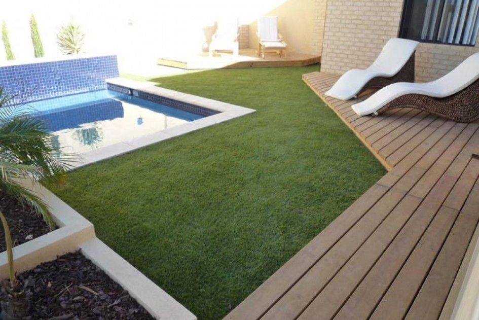 we love the clean look with the pool, artificial grass and