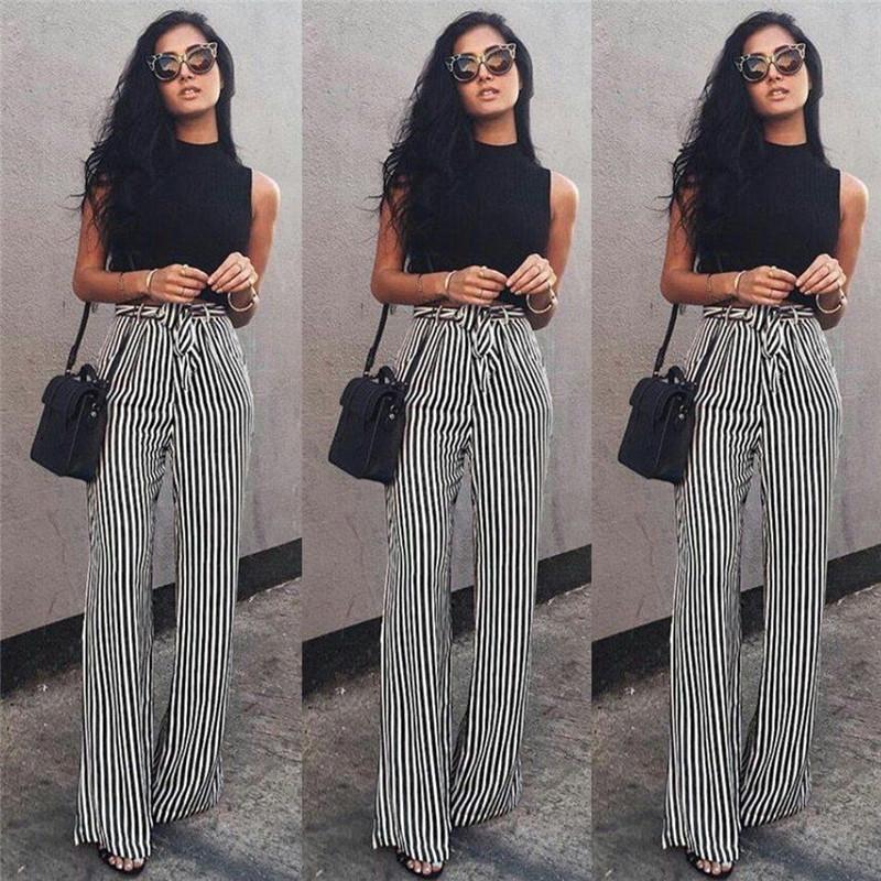 9192780ec0c40 Striped Palazzo Wide Leg Pants Women Drawstring Long Loose High Waist  Trousers Ladies Plus Size Flat Pants