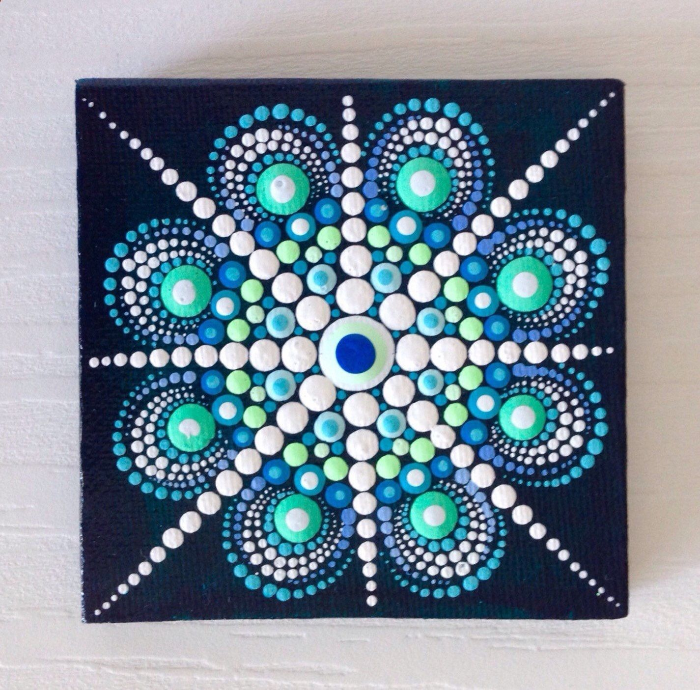 Original Blue Mandala Painting On Canvas By Createandcherishhttpswwwetsycom