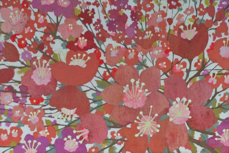 """""""Cherry Blooms"""" by Charleston based artist, Sally Bennett Baxley. This print incorporates both my current and future color schemes for my bedroom and saves me the trouble of repainting my accent wall for a while."""