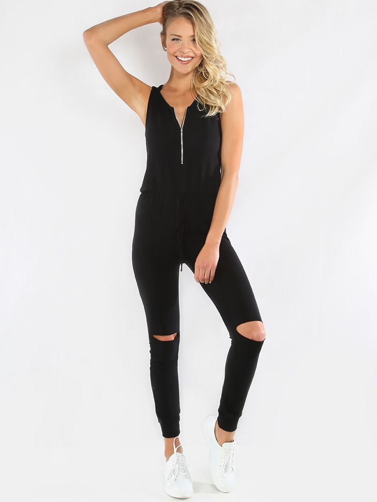 3d43a267fbb6 Get a cozy fit with the Zip Up Sleeveless Hoodie Jumpsuit! Features a zip  up front