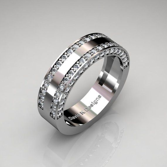 4519d7e6381 Modern French Platinum 950 80 Preset Diamond Mens Wedding Ring R1040-14PLATD