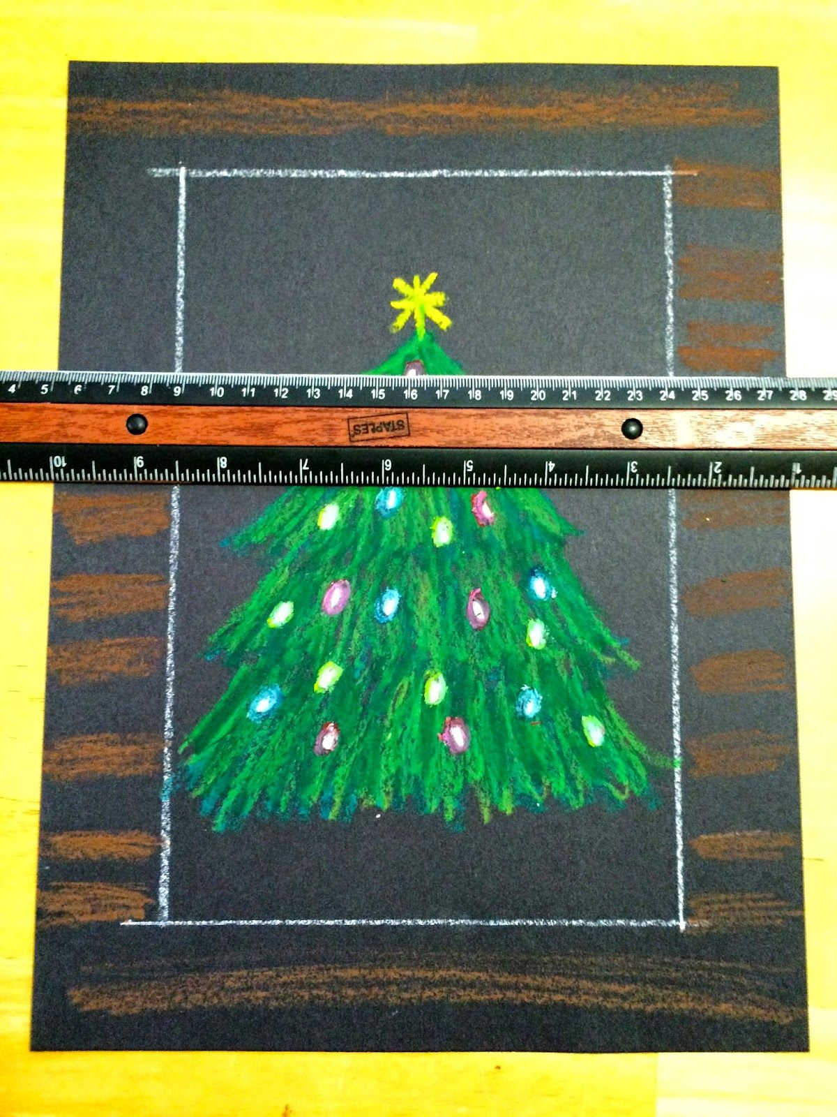 Kathy S Angelnik Designs Art Project Ideas Oil Pastel Christmas Tree In A Snowstorm Holiday Art Projects Christmas Art Projects Christmas Tree Art