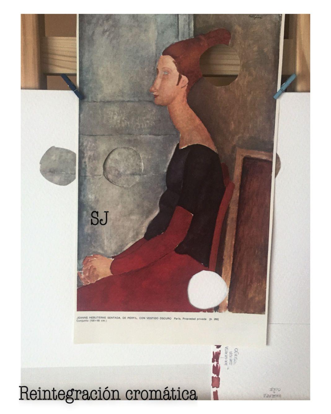 Reintegración cromática ilusionista a la acuarela de una lámina de Modigliani  #restauración #restauro #restauration #conservation #conservacion #art #arte #modigliani