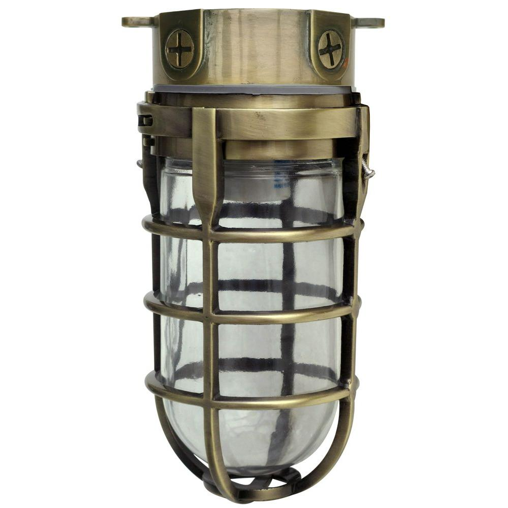 Southwire Industrial 1 Light Antique Brass Outdoor Weather Tight Flushmount Light Fixture L1706ab Ceiling Mount Light Fixtures Fixture Industrial Antique Brass