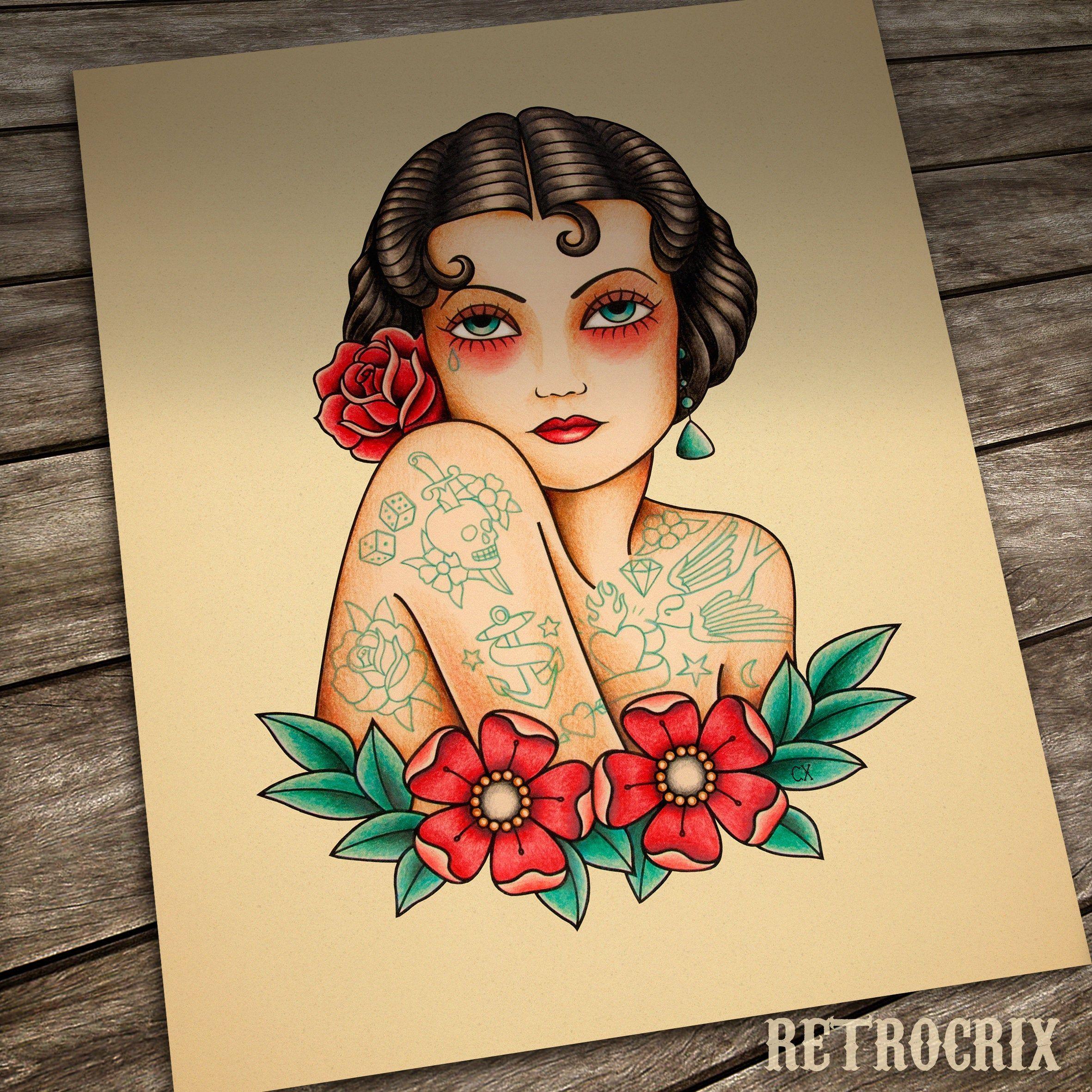 ✔ Women Tattoo Old School Black