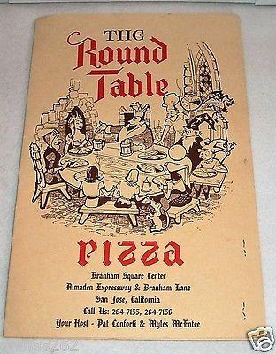Vintage Round Table Pizza Menu Vintage Menu The Round Table Pizza San Jose California Vintage Menu