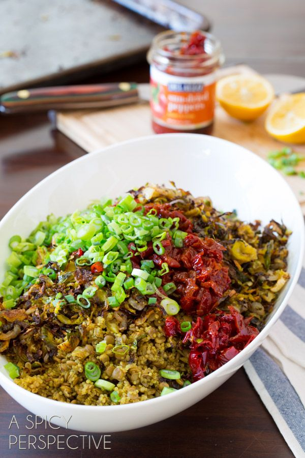 Fresh Quinoa Lentil Salad with Crispy Roasted Brussels Sprouts
