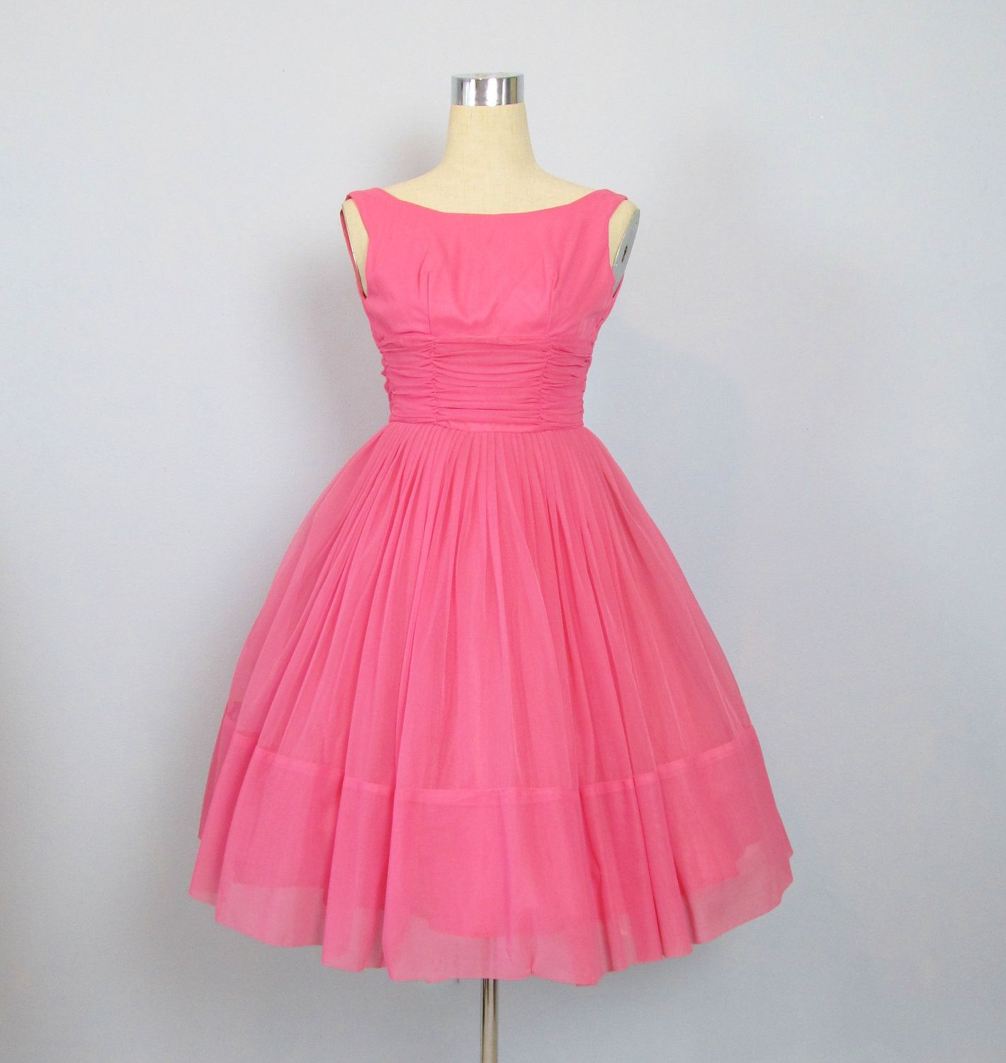 Vintage 1950\'s Pink Chiffon Cupcake Party Prom Dress | Prom ...
