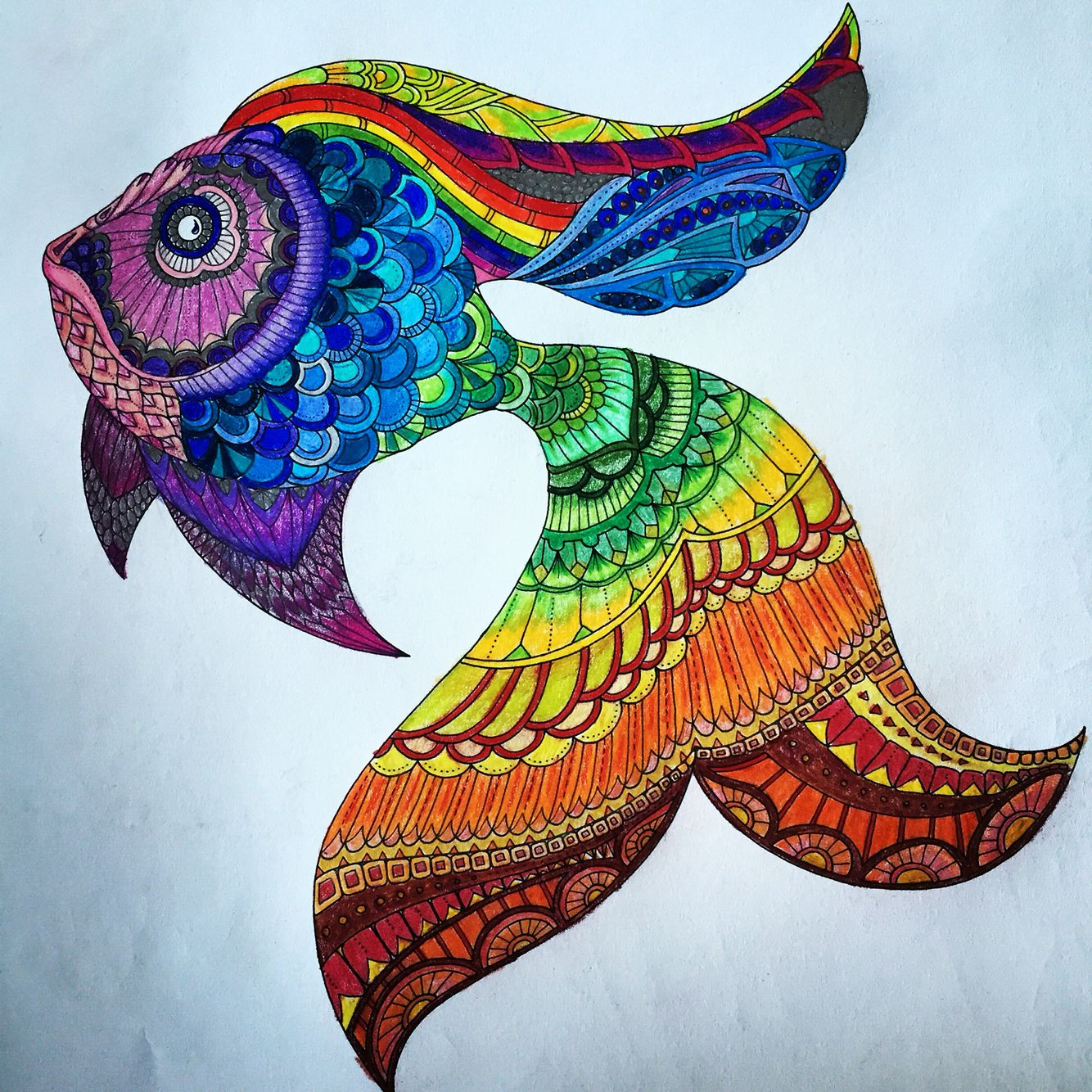 More Adult Coloring Lost Ocean By Johanna Basford Rainbow Fish Made With Prismacolor Colored Pencils