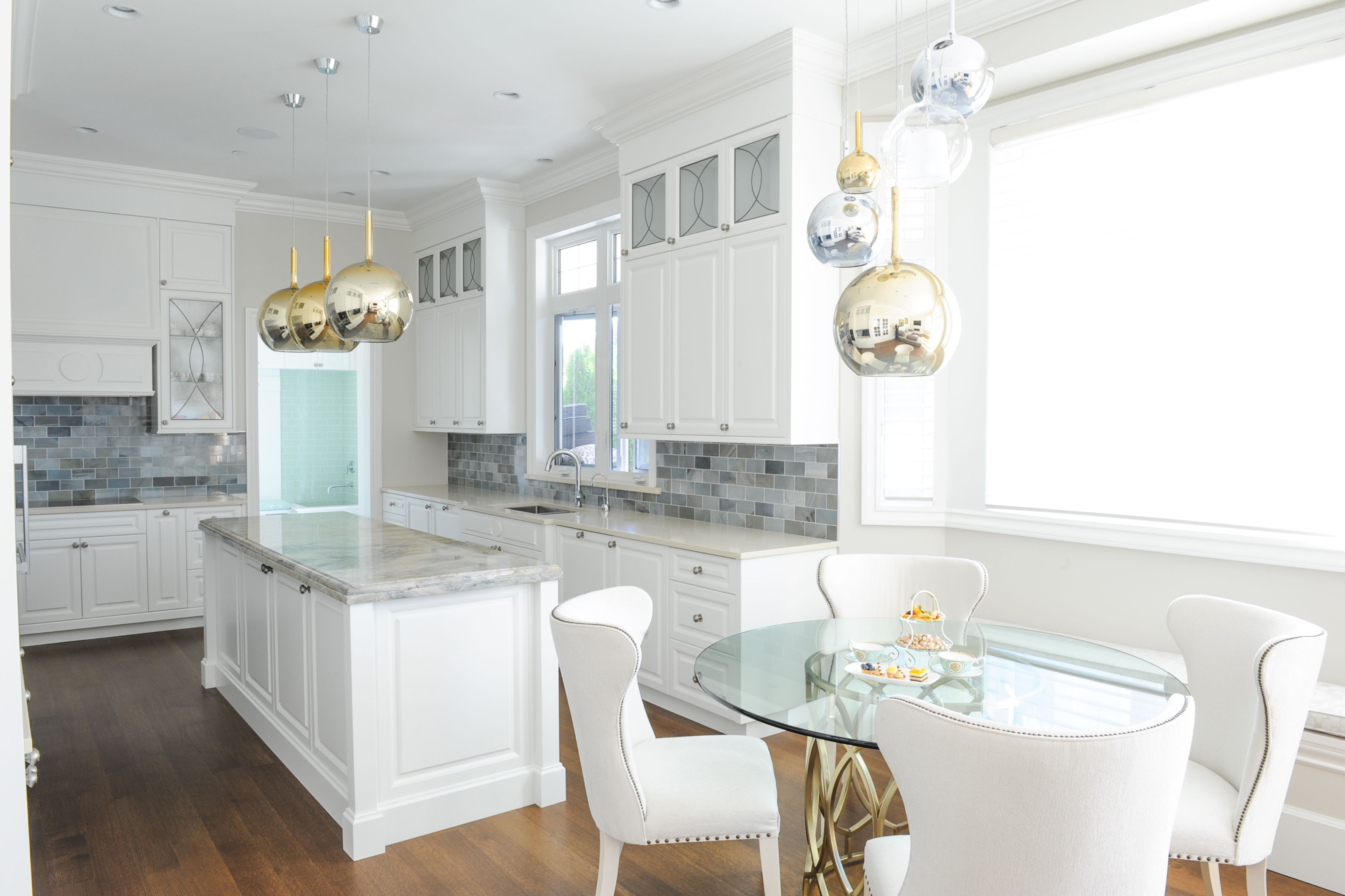 kitchen glass pendant lighting. Kitchen Designed By Enviable Designs - A Mixture Of Silver, Gold And Glass Pendant Lights Lighting U