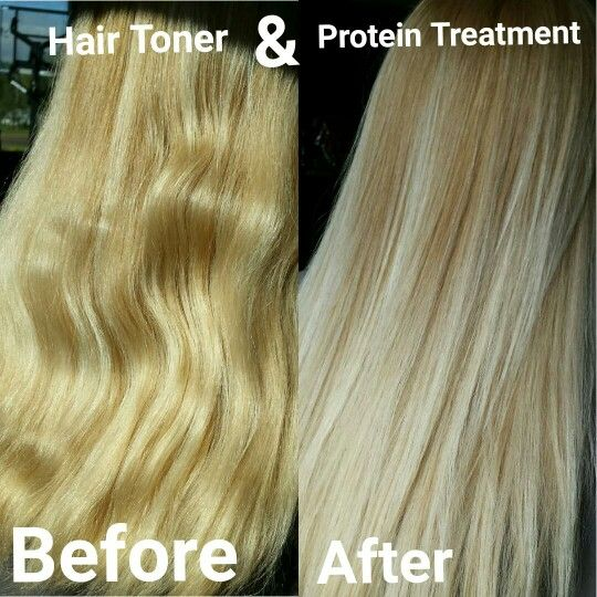 Hair toner and protein treatment before and after :)