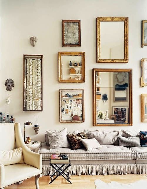 Living Room With Mirror Display Decor Home Home Decor