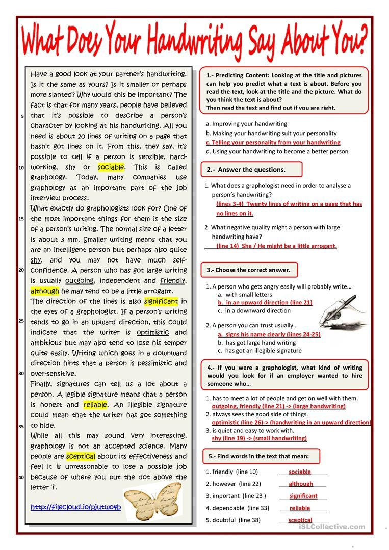 What Your Handwriting Says About You Worksheet Free Esl Printable Worksheets Made By Teachers Reading Worksheets Reading Comprehension Handwriting [ 1079 x 763 Pixel ]