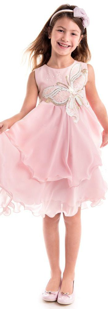 LESY Pink Designer Chiffon Butterfly Party Dress from the Spring ...