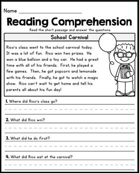 Free First Grade Reading Comprehension Passages Set 1 Printable