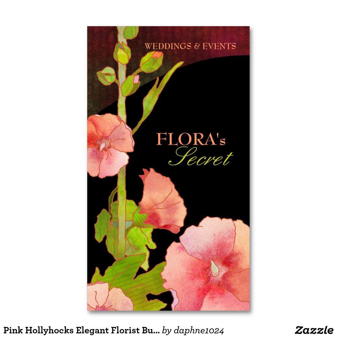 Pink Hollyhocks Elegant Florist Business Cards | business cards ...