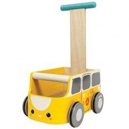 plan toys loopwagen van walker geel 5184 | ilovespeelgoed.nl