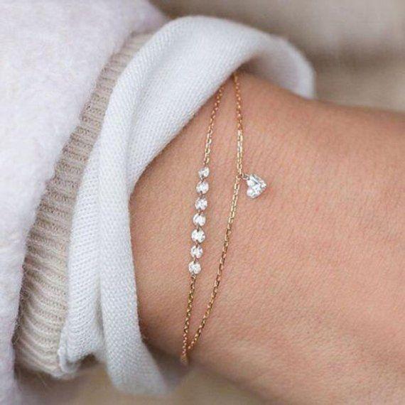 CIELO | Mujeres bonitas rhinestone pulsera de múltiples capas brazalete brazalete joyería de moda corazón de cristal | Pulsera dulce diamantes de imitación cristales corazón oro