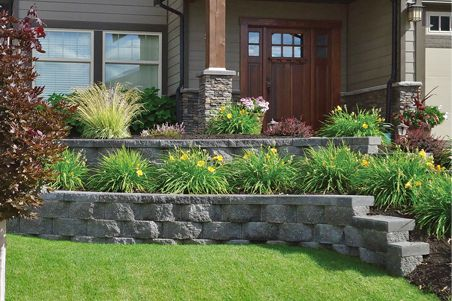 Tiered retaining wall featuring Geowall Pro. | Landscaping ... on Tiered Yard Ideas  id=96625