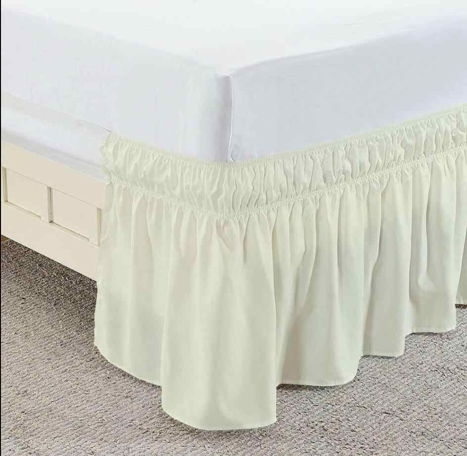 Ivory Wrap Around Bed Skirt Solid Comfy Sateen Bedskirt Solid Bed Dust Ruffle