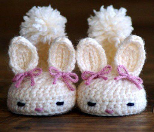 Como hacer unos zapatitos de bebe conejo con patrones01 | Crochet ...