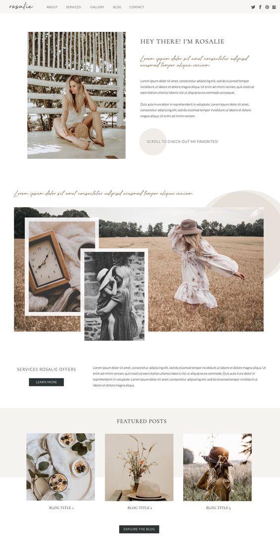 Feminine website design, photography website