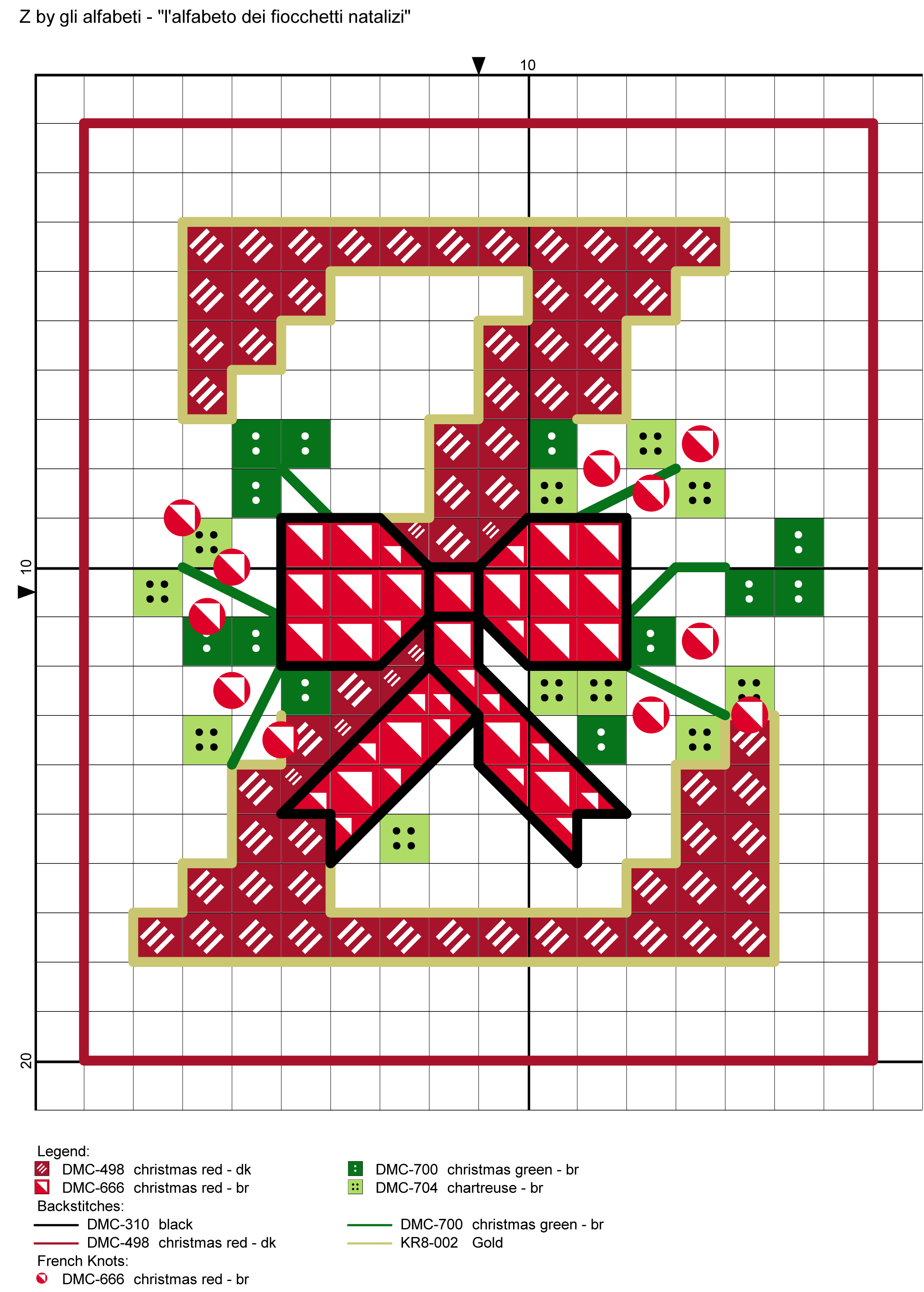 Alfabeto dei fiocchetti natalizi z alfabeti a punto for Ricamo punto croce lettere