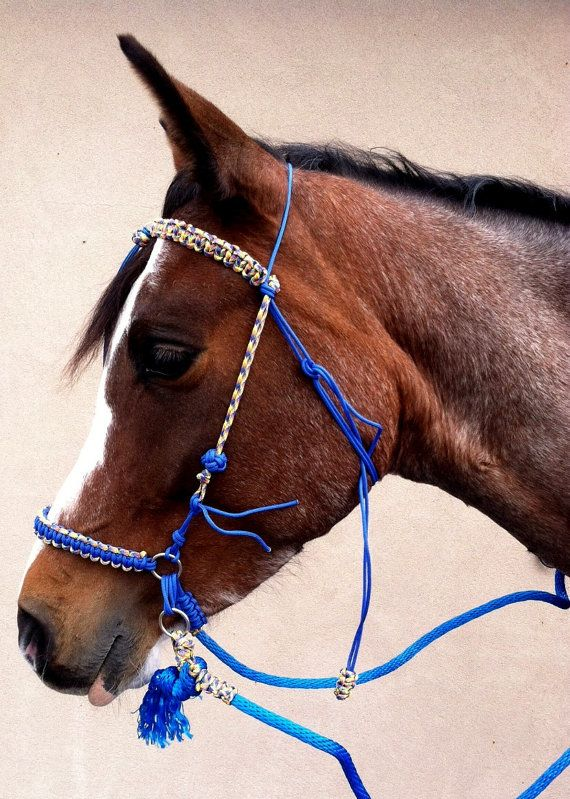 Adjustable paracord bitless bridle and rein set by for Paracord horse bridle