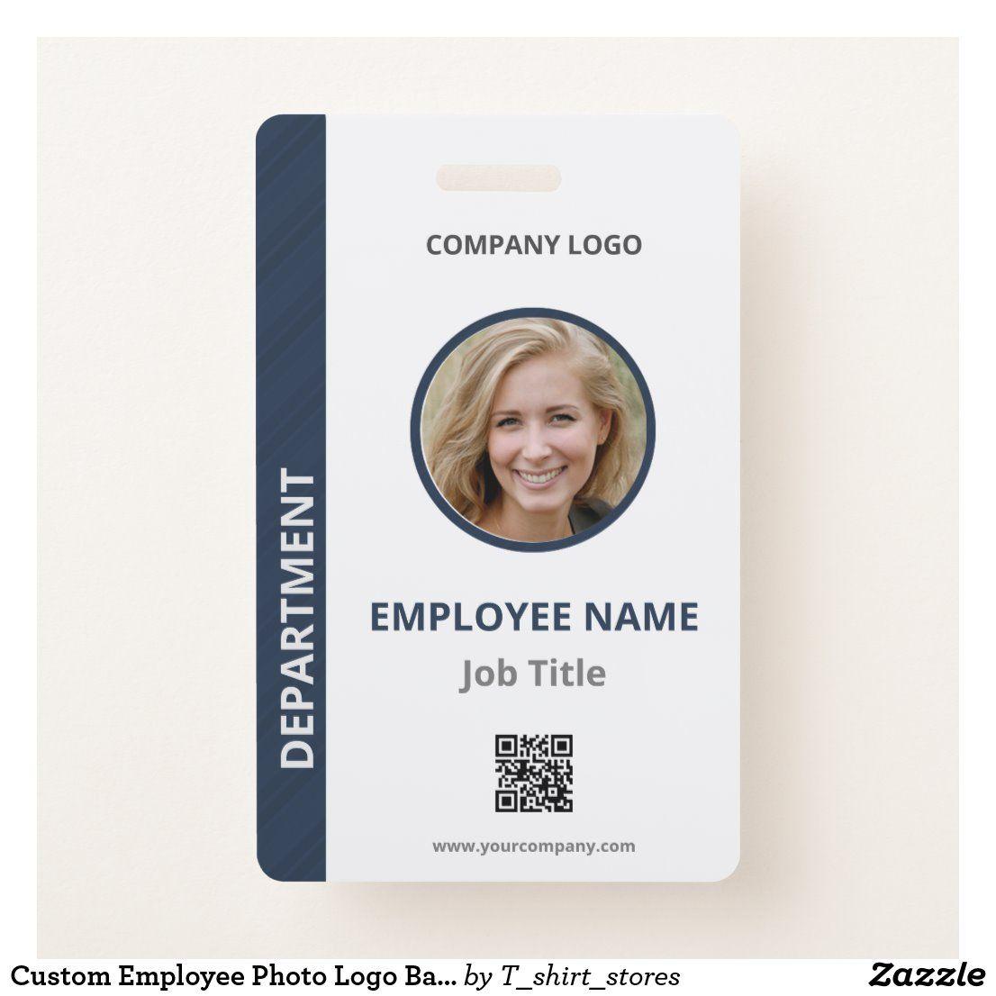 Custom employee photo logo bar code name badge zazzle