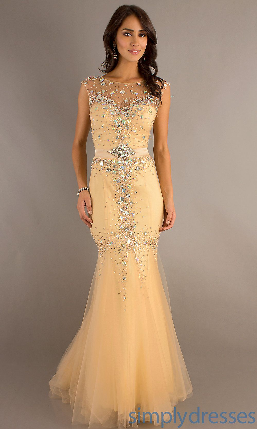 Sleeveless mermaid gown by dave and johnny legant long prom gown