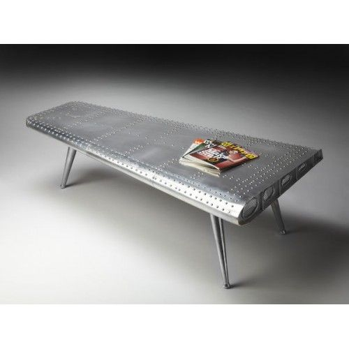 Silver Industrial Airplane Rivet Wing Coffee Table is part of Silver Home Accessories Coffee Tables -